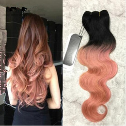$enCountryForm.capitalKeyWord Canada - Grade 8A Dark Roots Ombre Rose Gold Two Tone Ombre Hair Extensions Peruvian Virgin Hair Body Wave 3pcs Ombre Human Hair Weave