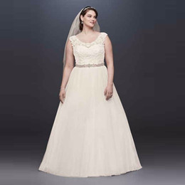 $enCountryForm.capitalKeyWord Canada - Tulle Plus Size Wedding Dress with Lace Cap Sleeve Embroidery Top Designer A-Line Bridal Gowns Custom Made Wedding Gown 9WG3741