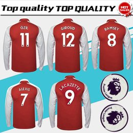 3e3c45ca #11 OZIL home red Soccer Jersey long sleeve 17 18 RAMSEY soccer shirt 2017  2018 #9 LACAZETTE Football uniforms have Premier League patches cheap full  sleeve ...
