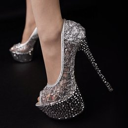 bridal peep toe heels NZ - Newest Sexy 2017 Wedding Shoes Peep Toe Net Sequins Cut Outs Stiletto For Summer Crystal Bridal Heels