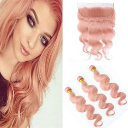 Colorful Human Hair Australia - 8A Pure Pink Color Body Wave Hair Weaves With Lace Frontal Closure With Bundles Colorful Pink Human Hair Wefts With Lace Frontal