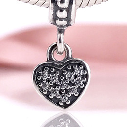 $enCountryForm.capitalKeyWord NZ - Authentic 925 Sterling Silver Bead Pavé Hanging Heart Dangle Charm Charms Fit DIY Pandora Bracelet And Necklace 791023CZ