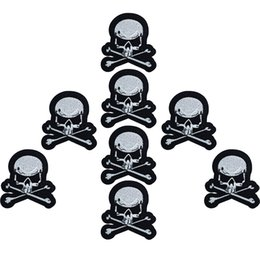 skull embroidered patches NZ - 10pcs skulls badges patches for clothing iron embroidered patch applique iron sew on patches sewing accessories for Diy clothes shoes bags