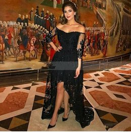 $enCountryForm.capitalKeyWord NZ - Arabic Black Lace Short Prom Dresses Sheer 3 4 Long Sleeves High Low Formal Evening Dress Elegant Crystal Applique Evening Gowns