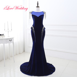 Barato Festa Quente Usa-2017 Venda quente baratos Royal Bule Velvet Vestidos de noite O Neck Cap Sleeves Lace Up Voltar Longo Formal Prom Party Gowns Ocasião Especial Wears
