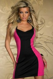 hot sexy white dresses Canada - Party Dress Women Fashion Sexy Dress Hot Club Wear Two-Tone Dress Pink and White 2 Colors Avaible ( Size: M, XL )