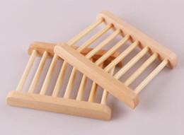 Großhandel 100 STÜCKE Natürliche Bambus Holz Seifenschale Holz Seifenschale Halter Lagerung Seife Rack Platte Box Container für Bad Dusche Bad