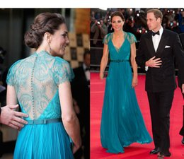 Barato Kate Vestidos Novos-2017 New Jenny Packham vestidos de baile por Kate Middleton V-Neck Ruffles Cap Sleeves Sheer Lace Back Fromal Pageant Party Celebrity Gowns