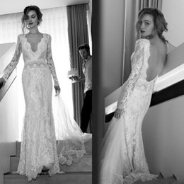 Manches Longues Bon Marché Pas Cher-Vintage Boho Robe de mariée 2017 Mermaid Full Lace V Neck Long Sleeve Lili Hod Robes de mariée de plage bon marché Backless Bohemian Bridal Gowns