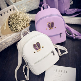 small ear phones 2019 - Wholesale- Fashion New backpack High quality PU leather Women bag Sweet girl mini shoulder bag Cute rabbit ear Sequins r