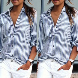 Barato Mangas Compridas Verticais-Womens New Summer Fashion Blusa Sexy Casual Loose Vertical Stripes Camisa de manga comprida Casual t shirt