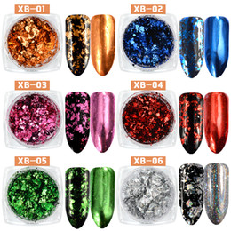 Polvo De Brillo Para Las Uñas Baratos-Nuevo 0,2g Nail Glitters Flakes de Aluminio Sequins Magic Mirror Powder Gold Silver Holo Polvo Irregular Nails Decoración 2017
