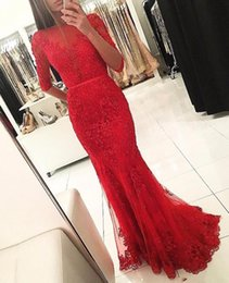 Barato Elegante Vestido De Manga Longa Frisado-2017 Sexy Sparkly Elegant Boat Neck Red Beaded Lace Appliques Mermaid Long Prom Dresses Half Sleeves Open Back Evening Prom Gown