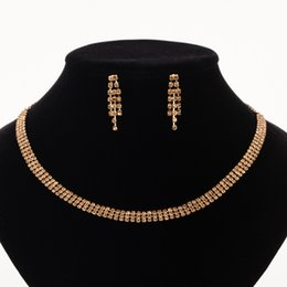 wedding gold crystals Australia - YFJEWE Luxury Wedding Jewelry Sets For Bride Elegant Crystal Chain Necklace Earrings Set for Women Gold-color Party Jewelry