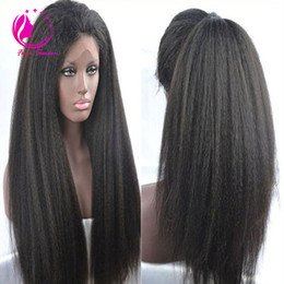 italian yaki straight wig Australia - Soft Italian Yaki Glueless Lace Front Human Hair Wigs For Black Women Brazilian Virgin Hair Kinky Straight Wigs With Baby Hair