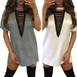 Sexy Army Shirts Canada - S-XXL Summer T Shirt Dress Women Deep V Neck Lace Up Sexy Bodycon Bandage Party Dresses Casual T-Shirt Dress Vestidos mini tie-up dress