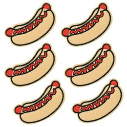 $enCountryForm.capitalKeyWord NZ - 10 pcs Hot dog patches badge for clothing iron embroidered patch applique iron sew on Diy patches sewing accessories for clothes