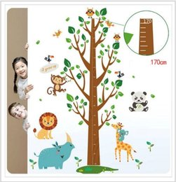 $enCountryForm.capitalKeyWord NZ - SK2001AB Large Trees Height Stickers Removable Panda Wall Stickers Height Measure For Kids Room Owl Monkey Elephant Wall Decal Home Decals
