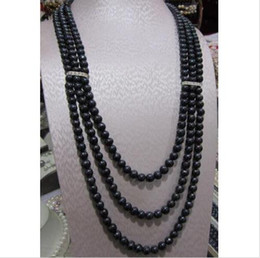 triple chains Canada - triple strand perfect 8-9 MM TAHITIAN BLACK BLUE PEARL NECKLACE 14K