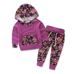 Gros Mois De Vêtements Pour Bébés Pas Cher-Vente en gros - Automne Hiver Floral Baby Girls Ensembles de vêtements imprimé Floral à manches longues T-shirt + pantalons Outfits 2PCS Hooded Girls Sets 0-24 mois