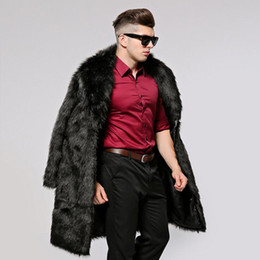 Wholesale cool trench for sale - Group buy Winter Men s Cool Faux Fur Trench Coat Turn Down Collar Thermal Artificial Fur Overcoat Thick Imitation Fur Clothing Outerwear