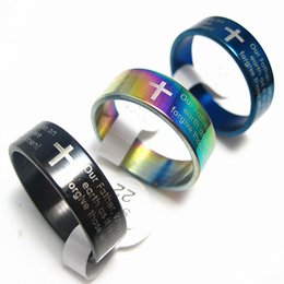 steel prayer ring Canada - Brand New 25PCs English the lord's prayer mix colors Stainless Steel Men's Jewelry Rings Wholesale Mixed Lots
