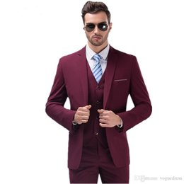 Chinese  Wholesale- Best Selling Burgundy Suits for Mens Groom Tuxedos One Button Slim Fit Best man Men Wedding Party Prom Dress(Jacket+Pants+Vest) manufacturers
