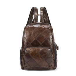 school shoulder bag women Canada - Genuine Leather Women Backpacks Vintage Patchwork School Bag For Girls Travel Shoulder Bag Laptop Bag