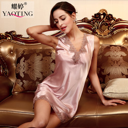 Women Satin Nighties Canada - Wholesale- Ladies Sexy Silk Satin Nightgown Sleeveless Nightdress Charming Sleep Dress Lace Nighties V-neck Sleepwear Nightwear For Women