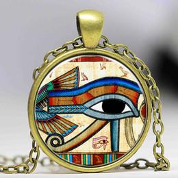 Ingrosso New Style Fashion vintage Indian Style of the eye of Horus retro Photo Collana lunga catena in vetro Orecchini Gioielli per le donne