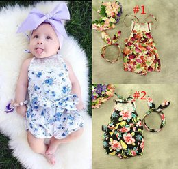 neck girl without clothes 2019 - 10 Style Baby INS flower Rompers Girl Cotton Lace print romper Bow Girls Ruffled Jumpsuit Toddler Infant clothes without