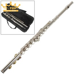 closed hole flutes 2018 - Wholesale-SLADE High Quality Silver Plated 16 Closed Holes C Key Flute with Cloth   Screwdriver   Case discount closed h