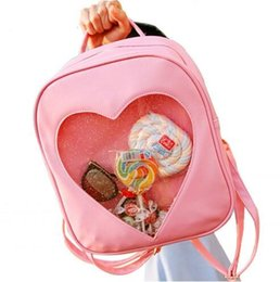 Barato Presente Do Chocolate Do Amor-Teenage Candy Color Mochila Bonitinho Transparente Love Heart Shaped Solid Color Zipper Mochila para Adolescente Best Gifts 6 estilos Frete grátis