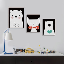 3 Piece Modern Watercolor Cute Animal A4 Art Print Poster Kawaii Cat Bear Nursery Kids Room Pictures Canvas Paintings Home Decor