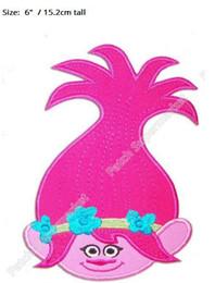 $enCountryForm.capitalKeyWord NZ - Trolls Poppy Head Large Felt Applique PATCH TV MOVIE Embroidered Emblem iron on badge girl dress children kids party favor DIY