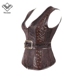gothic corset buckle UK - Wechery Brown Steampunk Corset Gothic Clothing Sexy Jacquard PU leather Steel Boned Zip Buckle Corsets And Bustiers