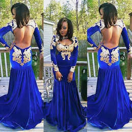Discount velvet black dresses long sleeves - 2017 Vintage Royal Blue Velvet Prom Dresses High Neck Hollow Out Long Sleeves Evening Dresses Sexy Backless Formal Party