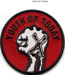 "heavy metal band patches 2019 - 3.5"" YOUTH OF TODAY straight edge PATCH Music Band Embroidered IRON ON Applique Badge Rock punk heavy metal hardcor"