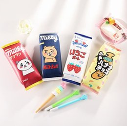 gift bags dhl shipping 2018 - Creative Kawaii Bear Strawberry Monkey Pencil Bag Korean Stationery Water Proof Pencil Storage office & School-supplies
