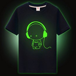 Superhombre Luminoso T Shirts Baratos-Camiseta con estampado de dibujos animados de niños Tops Boys Camiseta con estampado de niños Luminous Noctilucence Camiseta Superman Night Shining Sports Short T