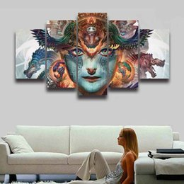 Pictures Decorated Living Rooms NZ - 5 Panel Canvas Painting Digital Art Girl Picture HD Prints for Wall Art Home Decor Living Room Decorate Room