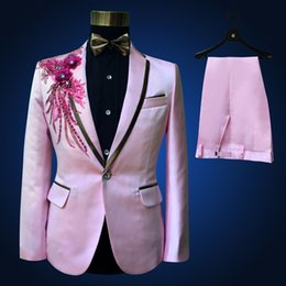 Fly Halloween Costumes Canada - Big Sale-Limitted Time Fashion Men Wedding Groom Tuxedos Suit Pink Sequins Men's Bridegroom Blazer & Suits Halloween Costumes For 2017