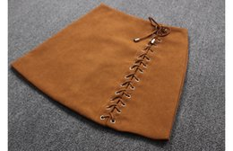 f3c2fc51fc8 New women s autumn fashion high waist a-line lacing bandage patchwork suede  leather short skirt plus size SML