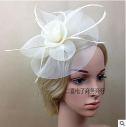 $enCountryForm.capitalKeyWord NZ - Married bridal veil floral hat headdress the catwalk stage photography props flower white gauze feather covered face head ornaments