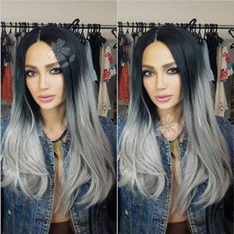 Wig Grey NZ - Ombre Grey Synthetic Lace Front Wig Glueless Heat Resistant Fiber Hair Wigs Natural Straight Black Roots Ombre Grey Wigs For Fashion Women