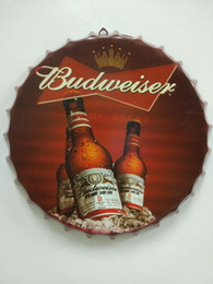 Tin signs round online shopping - Budweiser round tin sign bottle cap design beer cap Beer Metal bar poster metal craft for home bar restaurant coffe shop