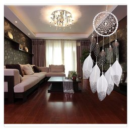 $enCountryForm.capitalKeyWord Canada - Fashion Wind Hanging Chime Handmade Traditional White Feather Dream Catcher Wall Hanging Car Hanging Decoration Ornament Charms Gift Ideas