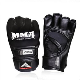 Boxing gloves mitts online shopping - Combat Gloves Black Half Finger UFC Training Combat Boxing Glove Good Ventilation Attractive And Durable Flexible Sweaty Mitts cw J