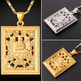 $enCountryForm.capitalKeyWord Canada - U7 New Hot Square Islam Necklace with Arabia Palace Gold Platinum Plated Link Chain for Women Ethnic Pendant Perfect Accessories P2433