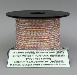 100m clear 8 cores pvc extreme soft silver + occ mixed signal (not tefl) earphone  headphone cable wire 0 05mm*12 0 05mm*